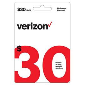 Verizon $30 Prepaid Refill Card