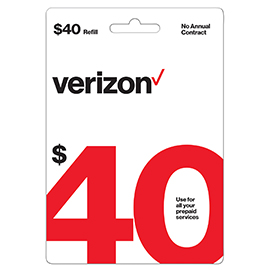 Verizon $40 Prepaid Refill Card