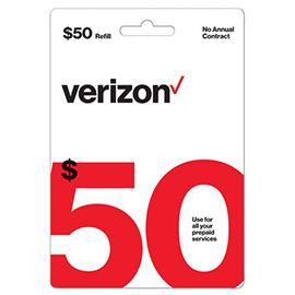Verizon $50 Prepaid Refill Card