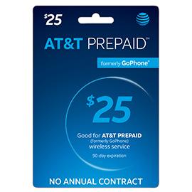 $25 AT&T PREPAID Refill Card