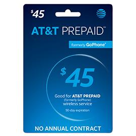 $45 AT&T Prepaid Refill Card