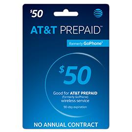 $50 AT&T Prepaid Refill Card