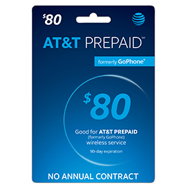 $80 AT&T Prepaid Refill Card