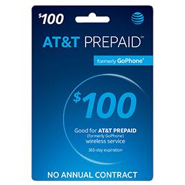 $100 AT&T Prepaid Refill Card