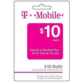$10 T-Mobile Prepaid Refill Card