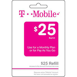 $25 T-Mobile Prepaid Refill Card