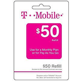 $50 T-Mobile Prepaid Refill Card