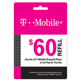 $60 T-Mobile Prepaid Refill Card