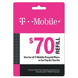 $70 T-Mobile Prepaid Refill Card