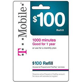 $100 T-Mobile Prepaid Refill Card
