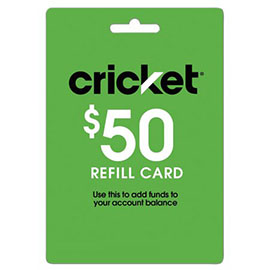 $50 Cricket Prepaid Refill Card