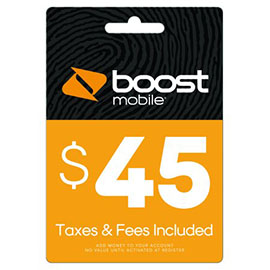 $45 Boost Mobile Re-Boost Card