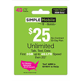 $25 Simple Mobile Pre-Paid Card