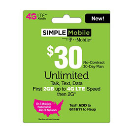 $30 Simple Mobile Pre-Paid Card