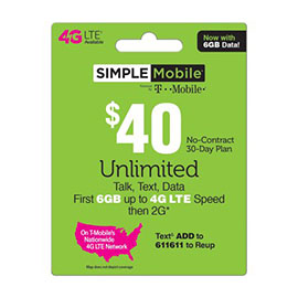 $40 Simple Mobile Pre-Paid Card