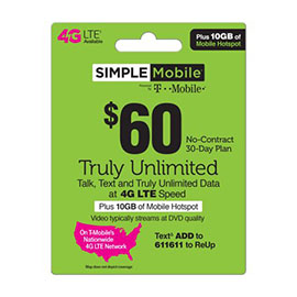 $60 Simple Mobile Pre-Paid Card