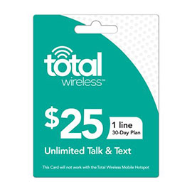 Total Wireless $25 Individual 30 Day Plan
