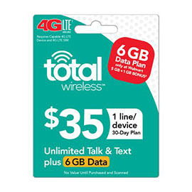 Total Wireless $35 Individual 30 Day Plan