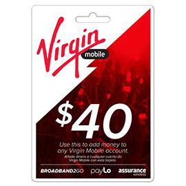 Virgin Mobile $40 Top Up Prepaid Card