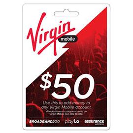 Virgin Mobile $50 Top Up Prepaid Card