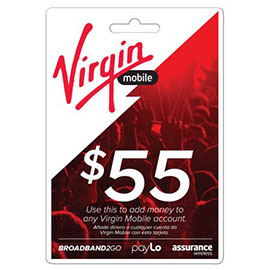 Virgin Mobile $55 Top Up Prepaid Card