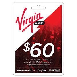 Virgin Mobile $60 Top Up Prepaid Card