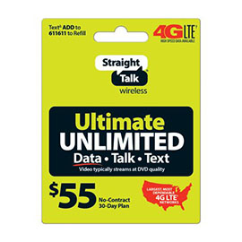Straight Talk $55 Unlimited Prepaid Card