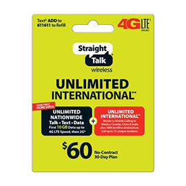 Straight Talk $60 International Prepaid Card