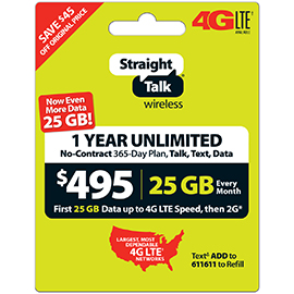 Straight Talk $495 Unlimited Prepaid Card