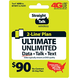 Straight Talk $90 Unlimited Prepaid Card