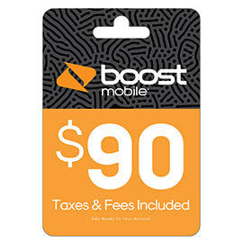 $90 Boost Mobile Re-Boost Card