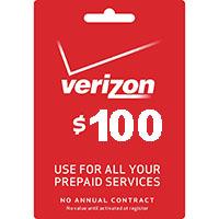 Verizon $100 Prepaid Refill Card